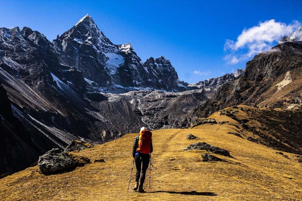 mountain, traveler, sky, man